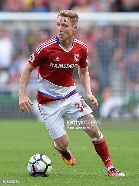 Adam Forshaw of Middlesbrough in action during the Premier League match between Middlesbrough FC and Crystal Palace FC at Riverside Stadium on...