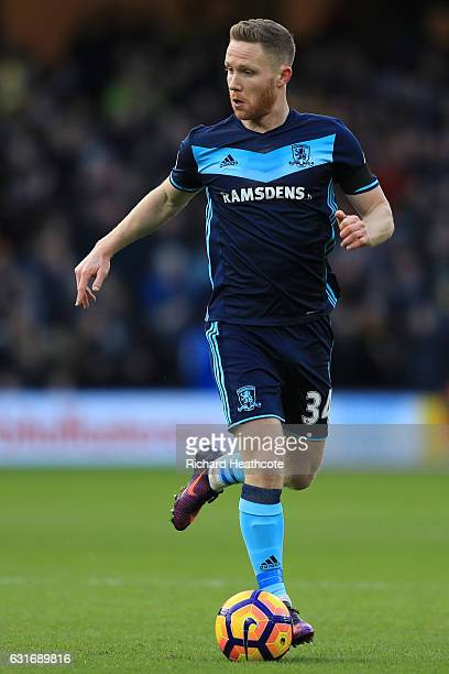 Adam Forshaw of Middlesbrough in action during the Premier League match between Watford and Middlesbrough at Vicarage Road on January 14 2017 in...
