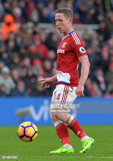 Adam Forshaw of Middlesbrough in action during the Premier League match between Middlesbrough and Everton at Riverside Stadium on February 11 2017 in...