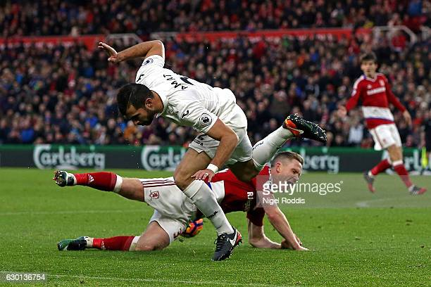 Adam Forshaw of Middlesbrough is fouled by Jordi Amat of Swansea City in the penalty area and a penalty is awarded to Middlesbrough during the...