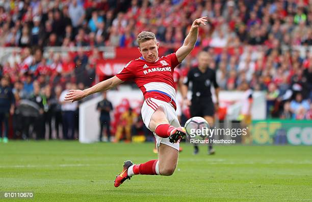 Adam Forshaw of Middlesbrough stretches for the ball during the Premier League match between Middlesbrough and Tottenham Hotspur at the Riverside...