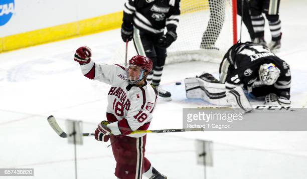 Adam Fox of the Harvard Crimson celebrates his goal during the second period against the Providence College Friars during the NCAA Division I Men's...