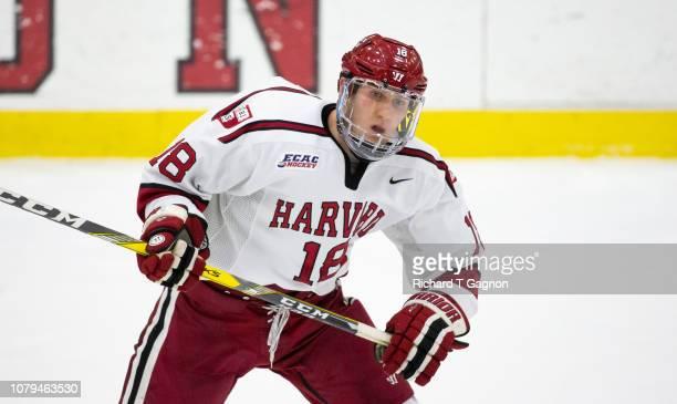 Adam Fox of the Harvard Crimson skates against the Boston University Terriers during NCAA hockey at The BrightLandry Hockey Center on January 8 2019...
