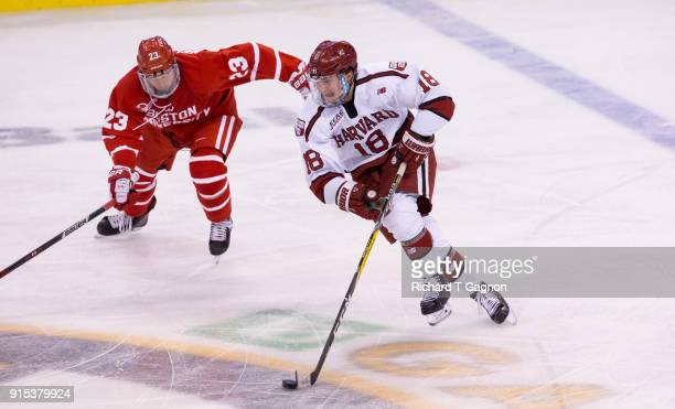 Adam Fox of the Harvard Crimson skates against the Boston University Terriers during NCAA hockey in the semifinals of the annual Beanpot Hockey...
