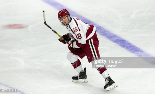 Adam Fox of the Harvard Crimson skates against the Providence College Friars during the NCAA Division I Men's Ice Hockey East Regional Championship...