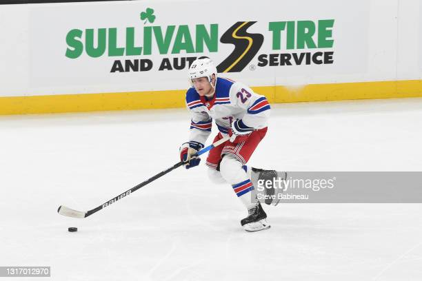 Adam Fox of the New York Rangers skates against the Boston Bruins at the TD Garden on May 8, 2021 in Boston, Massachusetts.