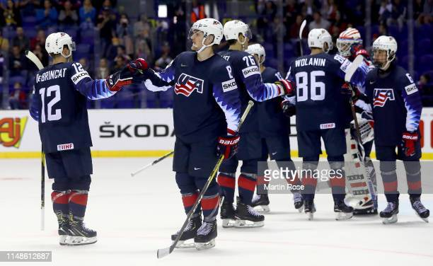 Adam Fox of the United States celebrate victory over France after the 2019 IIHF Ice Hockey World Championship Slovakia group A game between United...