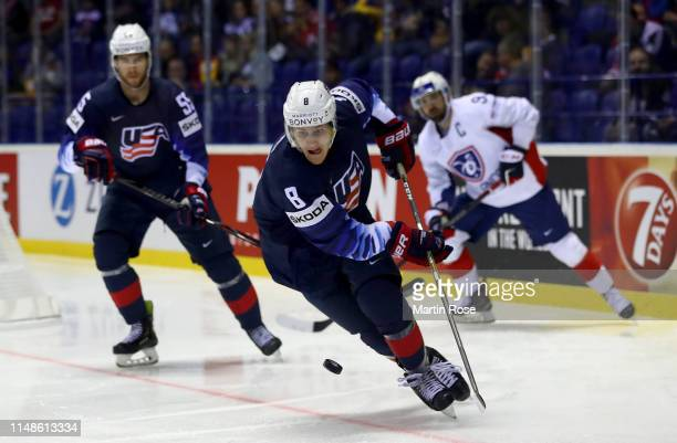 Adam Fox of the United States skates against France during the 2019 IIHF Ice Hockey World Championship Slovakia group A game between United States...