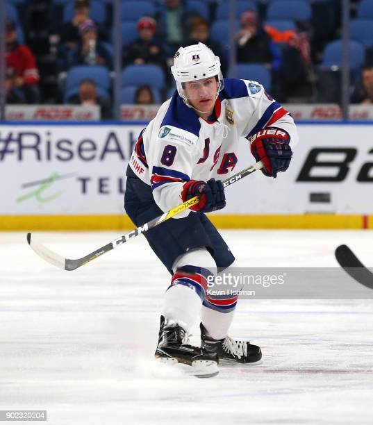 Adam Fox of United States against Czech Republic during the Bronze Medal Game of the IIHF World Junior Championship at KeyBank Center on January 5...