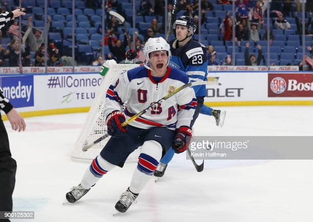 Adam Fox of United States celebrates after scoring the winning goal against Finland in the third period during the IIHF World Junior Championship at...