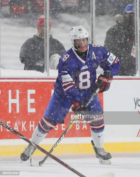 Adam Fox of United States during the IIHF World Junior Championship at New Era Field against Canada on December 29 2017 in Buffalo New York The...