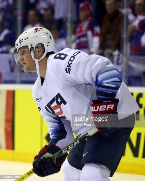Adam Fox of United States skates against Slovakia during the 2019 IIHF Ice Hockey World Championship Slovakia group A game between United States and...