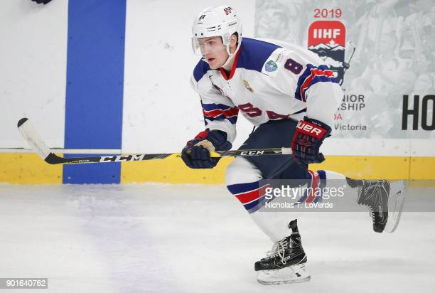 Adam Fox of United States skates against the Czech Republic during the first period of play in the IIHF World Junior Championships Bronze Medal game...