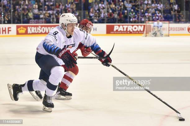 Adam Fox of USA controls the puck during the 2019 IIHF Ice Hockey World Championship Slovakia group A game between Denmark and United States at Steel...