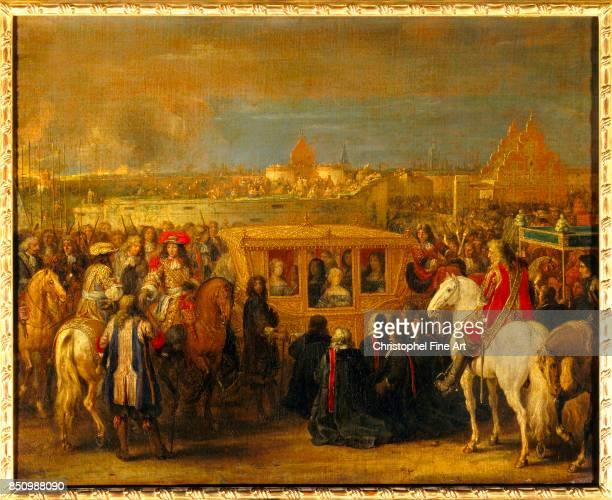 Adam Frans Van Der Meulen Louis XIV and Marie Therese entering Douai August 23rd 1667 Oil on canvas 063 x 081 m Versailles Chateaux de Versailles et...