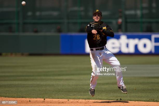 Adam Frazier of the Pittsburgh Pirates in action during the Spring Training game against the Baltimore Orioles at LECOM Park on March 15 2017 in...