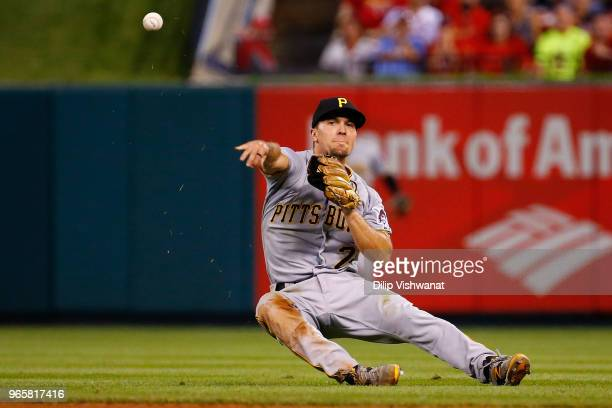 Adam Frazier of the Pittsburgh Pirates throws to first base against the St Louis Cardinals in the fifth inning at Busch Stadium on June 1 2018 in St...
