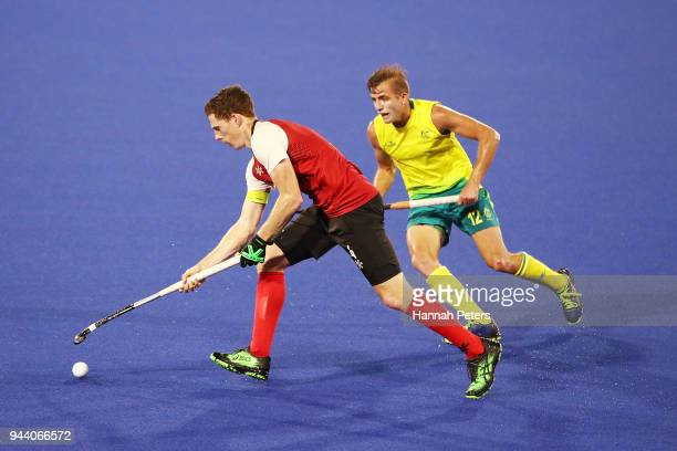 Adam Froese of Canada makes a break during the Men's Pool A match between Australia and Canada on day six of the Gold Coast 2018 Commonwealth Games...