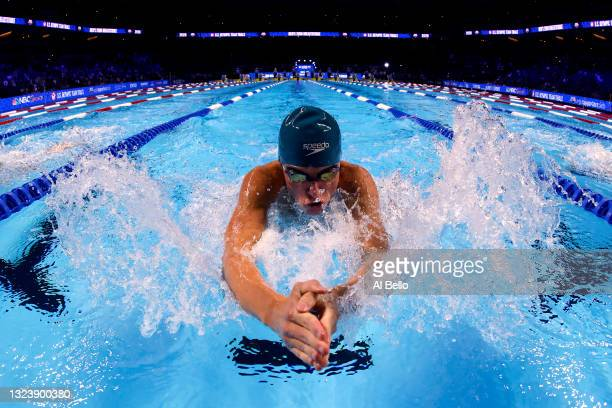 Adam Fusti-Molnar of the United States competes in a preliminary heat for the Men's 200m breaststroke during Day Four of the 2021 U.S. Olympic Team...