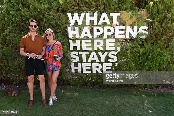 Adam Gallagher and Nicole Cogan attend The Las Vegas #WHHSH Music Lounge Palm Springs During Coachella at Ingleside Inn on April 17 2016 in Palm...