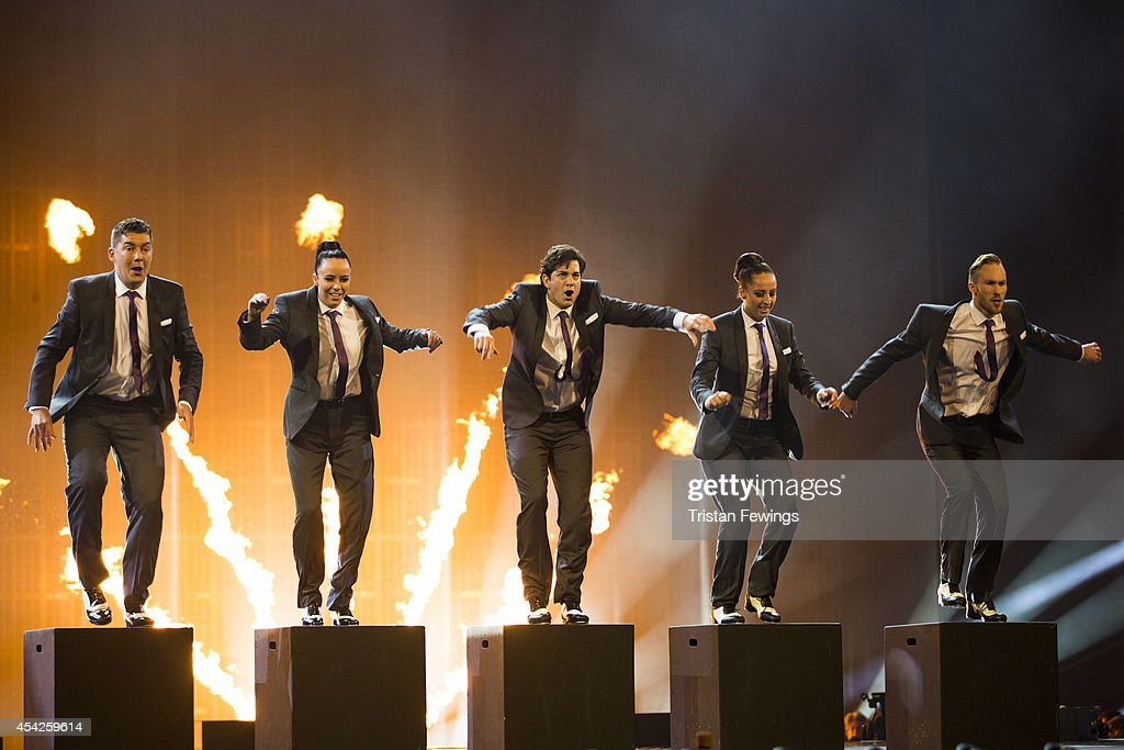 Adam Garcia (centre) performs during the third live show of 2014's 'Got To Dance' at Earls Court on August 27, 2014 in London, England.