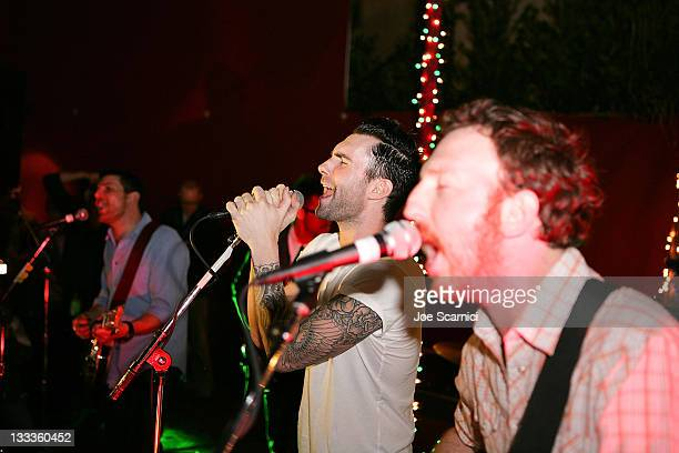 Adam Gardner Adam Levine and Ryan Miller perform at Green Music Group Celebrates Its Official Launch Party at the Janes House on January 30 2010 in...