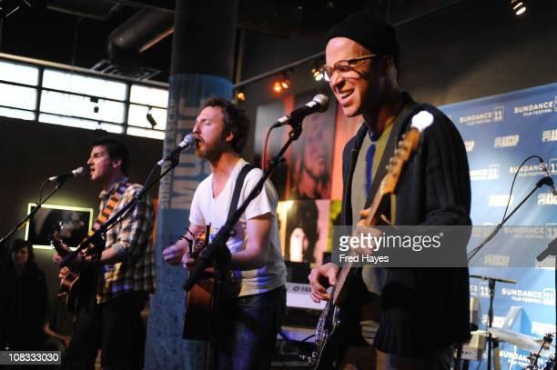 Adam Gardner Ryan Miller and Luke Reynold of Guster perform during the Sundance ASCAP Music Cafe during the 2011 Sundance Film Festival on January 25...