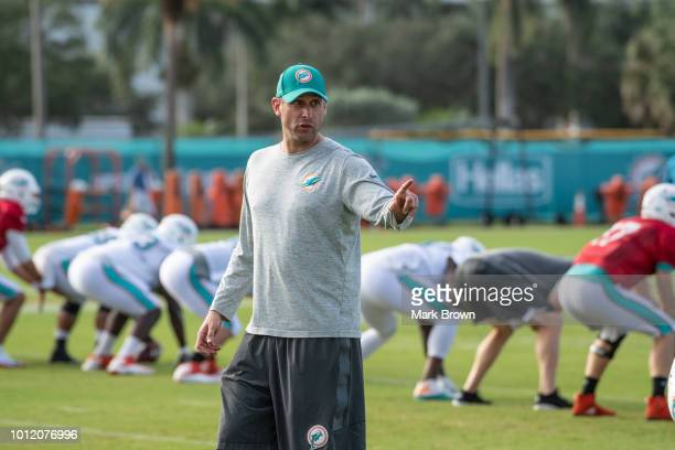 Adam Gase Head Coach of the Miami Dolphins in action during Miami Dolphins Training Camp at Baptist Health Training Facility at Nova Southeastern...