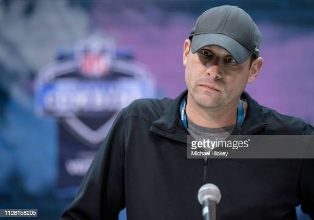 Adam Gase head coach of the New York Jets is seen at the 2019 NFL Combine at Lucas Oil Stadium on February 28 2019 in Indianapolis Indiana