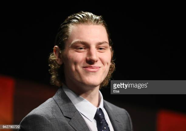 Adam Gaudette of Northeastern University and the Vancouver Canucks smiles after he is announced as the winner of the 2018 Hobey Baker Memorial Award...