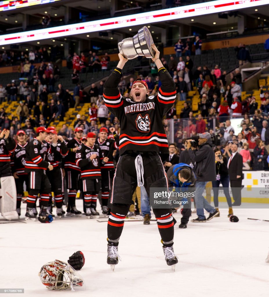 Adam Gaudette #8 of the Northeastern Huskies celebrates after a game against the Boston University Terriers during NCAA hockey in the championship game of the annual Beanpot Hockey Tournament at TD Garden on February 12, 2018 in Boston, Massachusetts. The Huskies won 5-2 to capture their first Beanpot in 30 years.