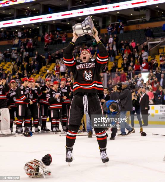Adam Gaudette of the Northeastern Huskies celebrates after a game against the Boston University Terriers during NCAA hockey in the championship game...