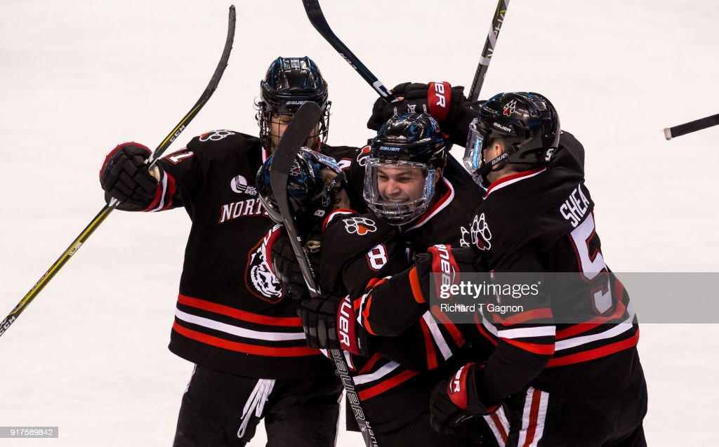 Adam Gaudette #8 of the Northeastern Huskies celebrates after scoring his third goal of the game against the Boston University Terriers during NCAA hockey in the championship game of the annual Beanpot Hockey Tournament at TD Garden on February 12, 2018 in Boston, Massachusetts. The Huskies won 5-2 to capture their first Beanpot in 30 years.