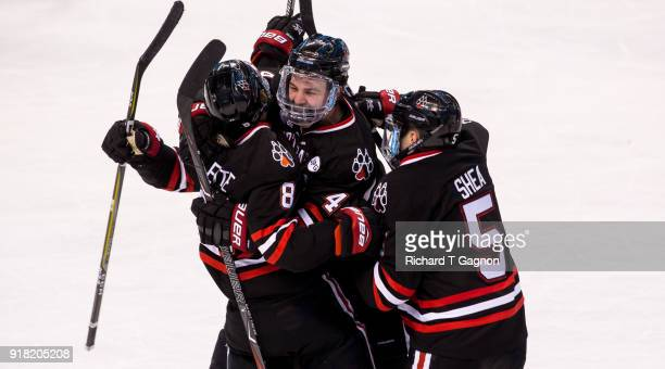 Adam Gaudette of the Northeastern Huskies celebrates with his teammates Ryan Shea Jeremy Davies and Nolan Stevens after he scored his third goal of...
