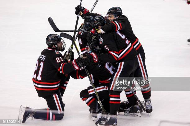 Adam Gaudette of the Northeastern Huskies celebrates with his teammates Ryan Shea Jeremy Davies Dylan Sikura and Nolan Stevens after he scored his...