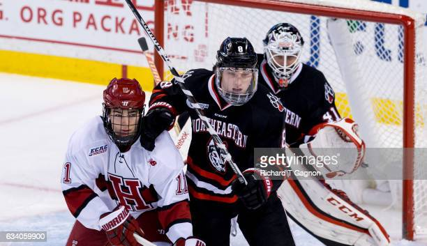 Adam Gaudette of the Northeastern Huskies fights for position against Ty PeltonByce of the Harvard Crimson during NCAA hockey in the semifinals of...