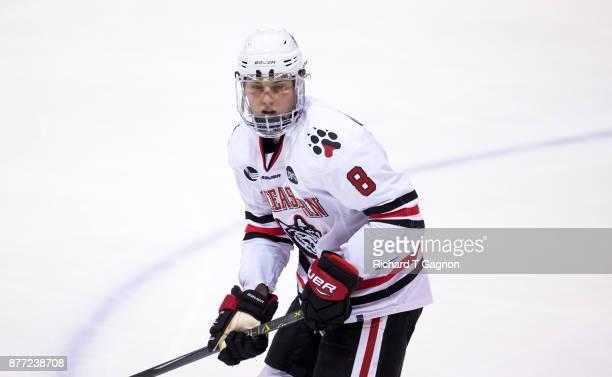 Adam Gaudette of the Northeastern Huskies skates against the Boston College Eagles during NCAA hockey at Matthews Arena on November 18 2017 in Boston...
