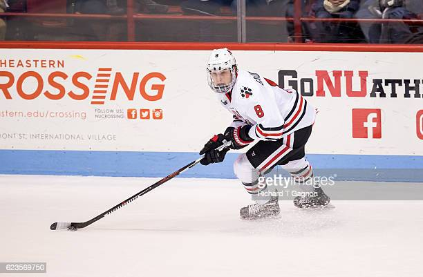 Adam Gaudette of the Northeastern Huskies skates against the Notre Dame Fighting Irish during NCAA hockey at Matthews Arena on November 13 2016 in...