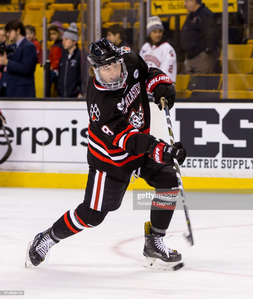 Adam Gaudette #8 of the Northeastern Huskies warms up before a game against the Boston College Eagles during NCAA hockey in the semifinals of the annual Beanpot Hockey Tournament at TD Garden on February 5, 2018 in Boston, Massachusetts.