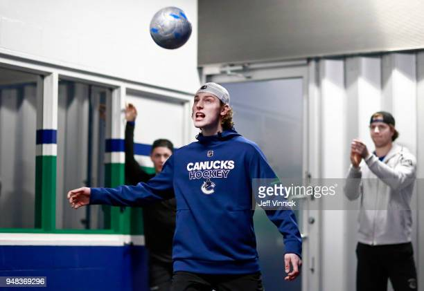 Adam Gaudette of the Vancouver Canucks plays soccer before their NHL game against the Edmonton Oilers at Rogers Arena March 29 2018 in Vancouver...