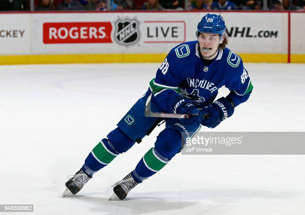 Adam Gaudette of the Vancouver Canucks skates up ice during their NHL game against the Edmonton Oilers at Rogers Arena March 29 2018 in Vancouver...