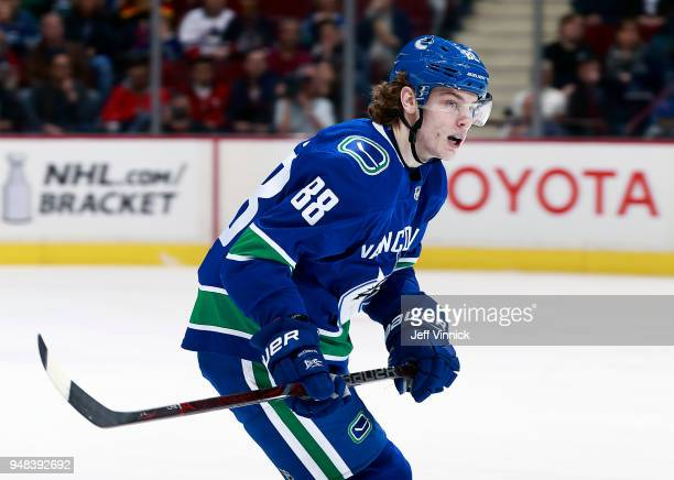 Adam Gaudette of the Vancouver Canucks skates up ice during their NHL game against the Columbus Blue Jackets at Rogers Arena March 31 2018 in...