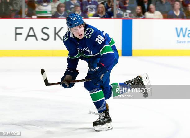 Adam Gaudette of the Vancouver Canucks skates up ice during their NHL game against the Arizona Coyotes at Rogers Arena April 5 2018 in Vancouver...