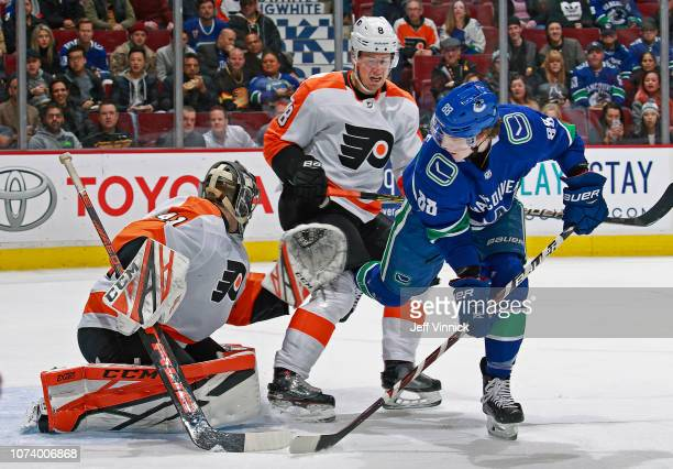 Adam Gaudette of the Vancouver Canucks takes a shot on Anthony Stolarz of the Philadelphia Flyers during their NHL game at Rogers Arena December 15...