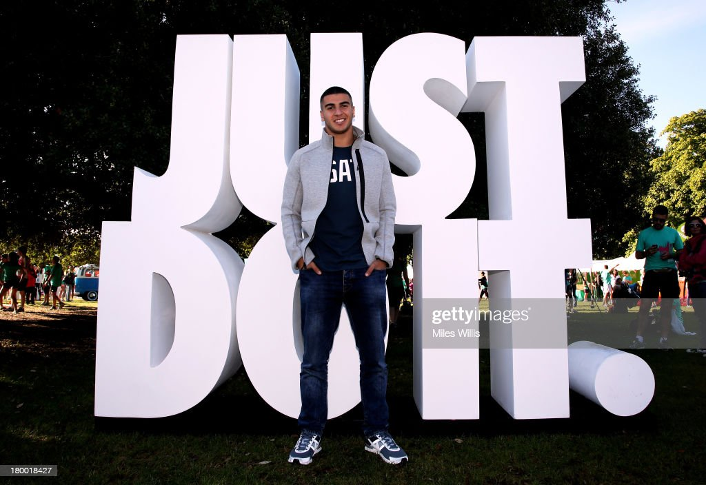 Adam Gemili inspires runners to #justdoit as they gather at the start line for Run to the Beat powered by Nike+, London's most unique half marathon in Greenwich Park on September 8, 2013 in London, England.