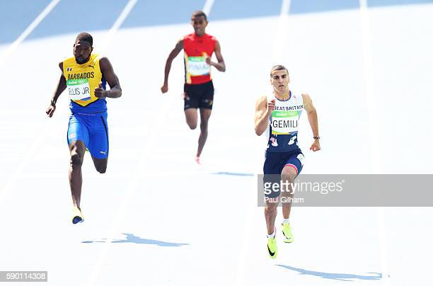 Adam Gemili of Great Britain competes against Burkheart Ellis Jr of Barbados during the Men's 200m Round 1 Heat 6 on Day 11 of the Rio 2016 Olympic...
