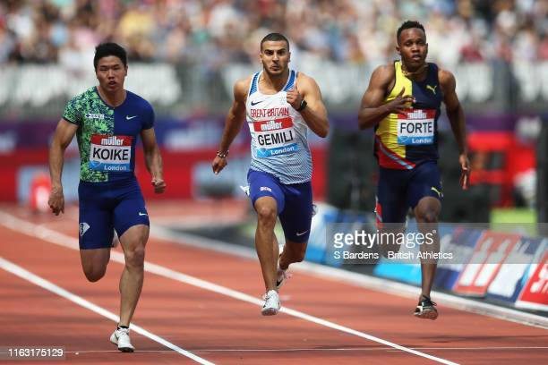 Adam Gemili of Great Britain competes in Heat 1 of the Men's 100m during Day One of the Muller Anniversary Games IAAF Diamond League event at the...