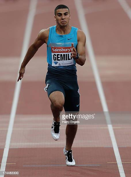 Adam Gemili of Great Britain competes in the Men's 100m B race on day one during the Sainsbury's Anniversary Games IAAF Diamond League 2013 at The...