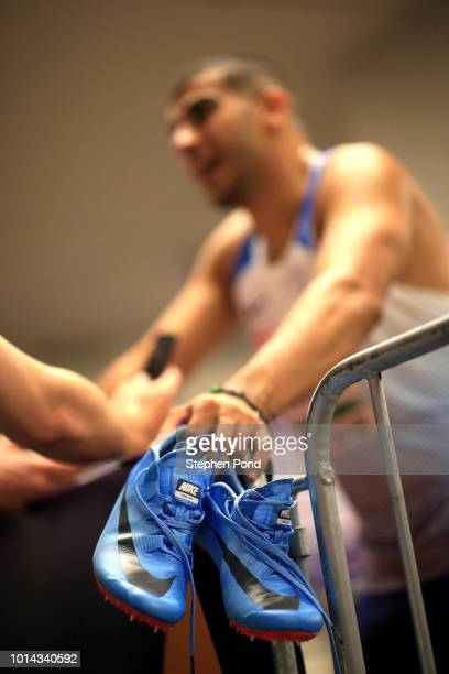 Adam Gemili of Great Britain in the Mixed Zone during day three of the 24th European Athletics Championships at Olympiastadion on August 9 2018 in...