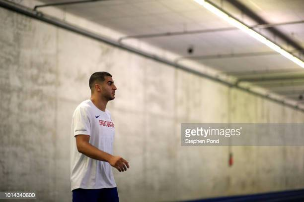 Adam Gemili of Great Britain prepares on the warm up track ahead of competing in the Men's 200m final during day three of the 24th European Athletics...